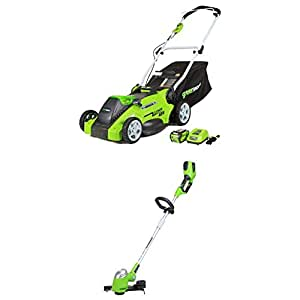GreenWorks 25322 G-MAX 40V 16-Inch Cordless Lawn Mower, (1) 4AH Battery and a Charger Included WITH GreenWorks 21332 G-MAX 40V 13-Inch Cordless String trimmer - Battery and Charger Not Included