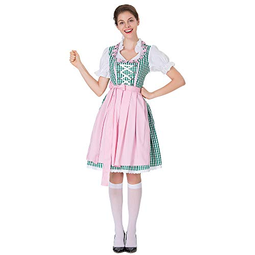 YOMXL Women Lace Oktoberfest Costume Retro Square Collar Cross Bandage Maid Dress Bavarian Beer Girl Mini Dress ()