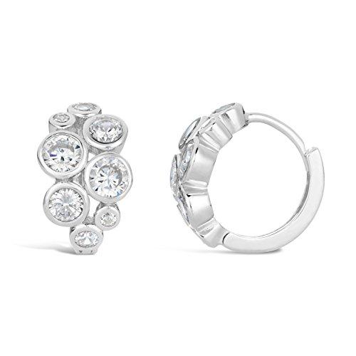 Huggie Hoop Circle Cluster Cubic Zirconium Earrings (3 Stone Cluster Earrings)
