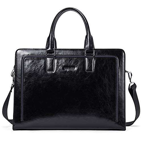 BOSTANTEN Women Genuine Leather Briefcase Tote Business Vintage Handbag 15.6'' Laptop Shoulder Bag Black by BOSTANTEN (Image #7)