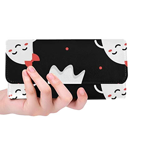 Unique Custom Cute Funny Romantic Couple Ghosts Halloween Women Trifold Wallet Long Purse Credit Card Holder Case -