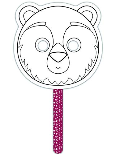 Avenue Mandarine Bear Theme Colourful Stick Mask (Black/White), Paper, 34.5 x 20.5 x 1 cm