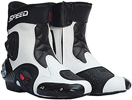 Mylujo Motorcycle Boots Soft Biker Speed Motocross Boots Non-slip Motorcycle Shoes Motorbike Waterproof Boots for Men Boys red 9.5