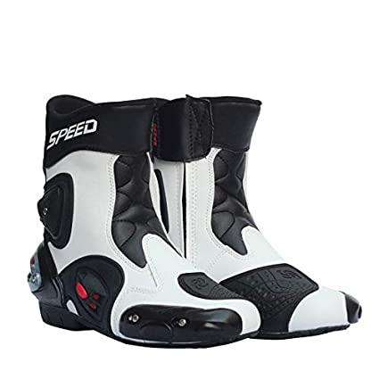 Yiwa M/änner Motorrad Racing Schuhe Leder Motorradstiefel Reiten Motorrad Motocross Offroad Moto Stiefel White 8