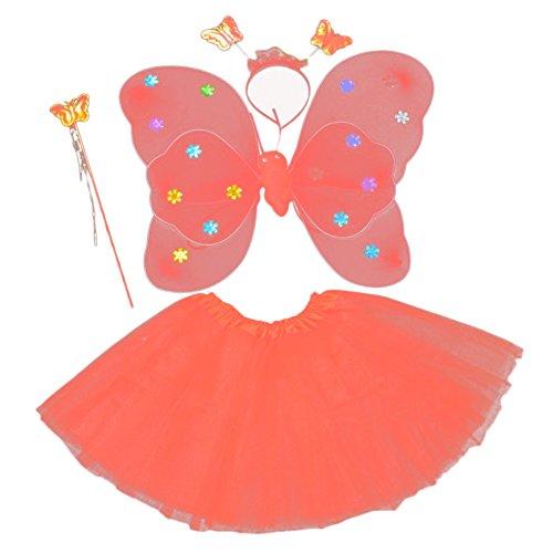[BOBORA Fairy Girl Halloween Costume Butterfly Wing Wand Headband Tutu Skirt Set] (Tinkerbell Costume Baby Girl)