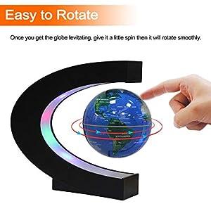 Globo Flotante de Levitación Magnética con Forma de C – Rotación del Mapa del Mundo con Luces LED para la Educación Enseñanza Inicio Oficina de Decoración de Escritorio Regalo de Cumpleaños