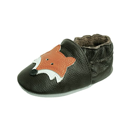 iEvolve Cute Fox Baby Shoes Baby Toddler Soft Sole Prewalker First Walker Crib Shoes Baby Moccasins(Dark Brown, 12-18 Months)