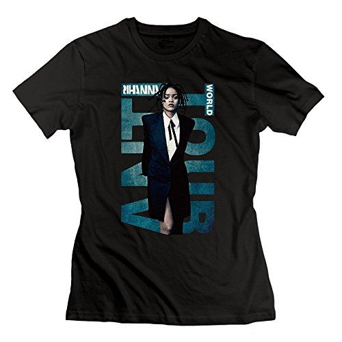 SEagleo Women's Barbadian Singer Rihanna Album ANTI 2016 World Tour Poster Tees Black Large