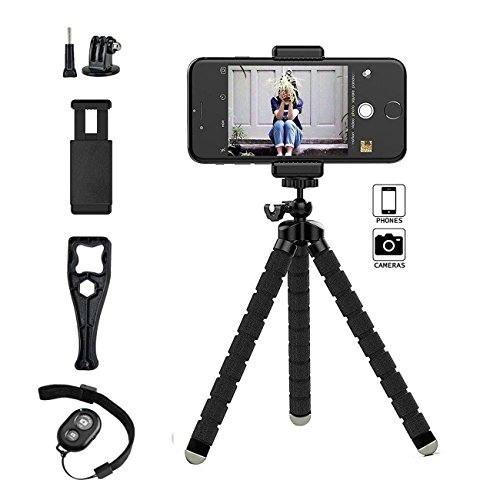 Gopro Tripod Stand,Octopus Lightweight Adjustable Camera Stand Phone Tripod Holder with Bluetooth Remote and Universal Clip Flexible iPhone Tripod for iphone android Smartphone,Gopro Action Webcamera