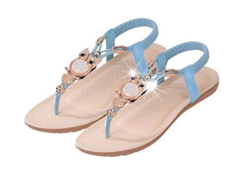 Mujer Redonda QXH de Sandalias Inferior Elasticidad Zapatos Boca Superficial Cabeza Plana Blue qqEpwA