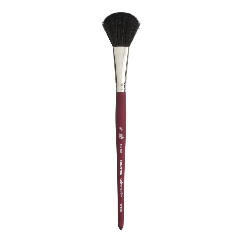 Princeton Velvetouch Artiste, Mixed-Media Brush for Acrylic, Watercolor & Oil, Series 3950 Oval Mop Luxury Synthetic, Size 3/4