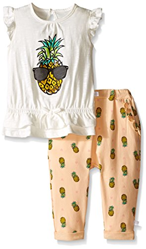 Rosie Pope Baby Girls 2 Piece Pineapple Print Shirt with Pineapple Print Pant Set
