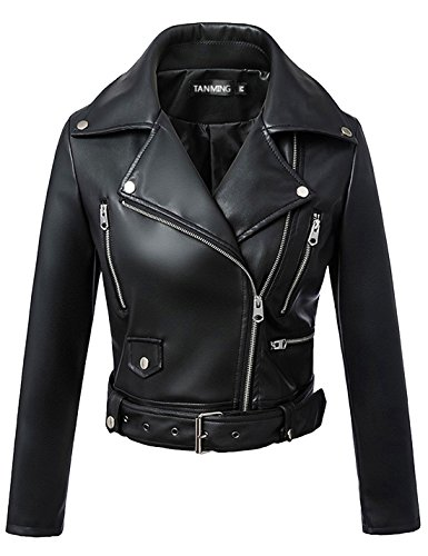 Tanming Women's Leather Coat Jacket (Large, -
