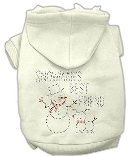 Snowmans Best Friend Rhinestone (Mirage Pet Products 18-Inch Snowman's Best Friend Rhinestone Hoodie, XX-Large, Cream)