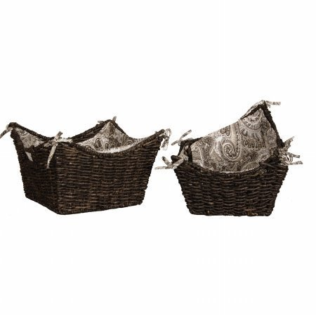 Lamont Home Brookwood Maize 3-Piece Scoop Basket Set with Removable Paisley Fabric Liner, Medium Coffee