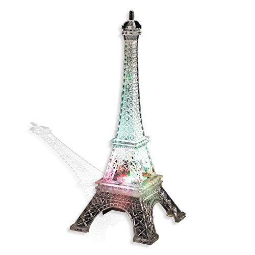 TCDesignerProducts Color-Changing LED Eiffel Tower Centerpiece, 10 Inches High, Battery Operated Paris Prom -