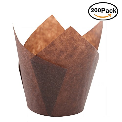 SK Tulip Cupcake Liner Baking Cup - Brown for Standard Size Cupcakes and Muffins Liners for Wedding Appx. 200 pc (Brown)