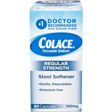 Colace Docusate Sodium Stool Softener, 100 mg Capsules, 60 Count (5 Pack ) tMi*W by Purdue Products L.P.