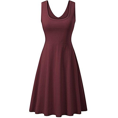 (Summer Dresses Women's Vintage Scoop Neck Midi Dress Sleeveless A line Waistline Midi Dress Casual Flared Tank)