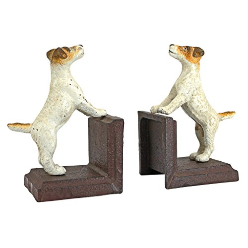Design Toscano Jack Russell Terrier Cast Iron Sculptural Dog Bookend Pair by Design Toscano