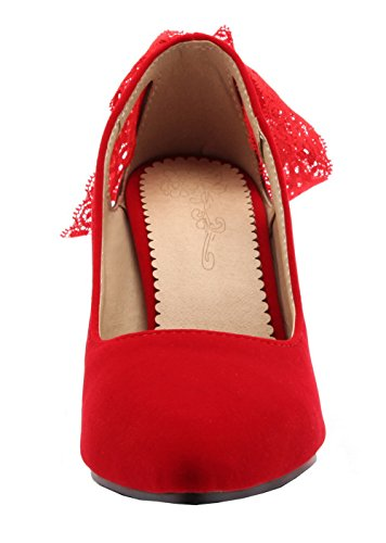VogueZone009 Women's Frosted Pull-On Pointed Toe High-Heels Solid Pumps-Shoes Red PjVthvpos