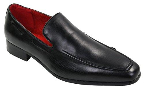 eleganten Schuhe Leder Schwarz lässigen On Herren Slip Italienische w6PWqI