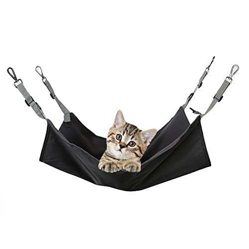 Cat Hanging Hammock Bed,Soft Waterproof Cat Cage Hammock Summer and Winter Used Oxford Fabric Mat For Rabbit/Rat/Ferret/other Small Animals (Black)