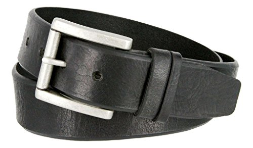 - Western Casual Jean Vintage Distress Leather Belt (Black, 40)