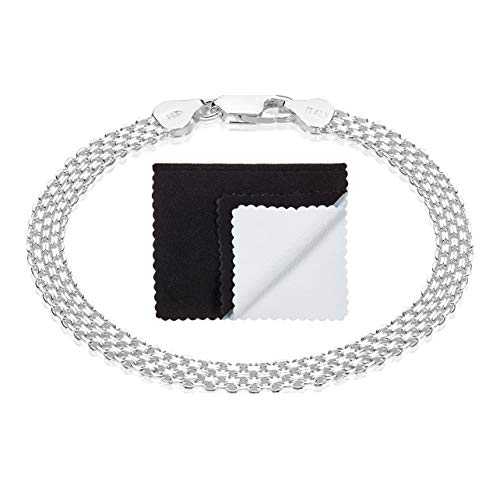 925 Sterling Silver Nickel-Free 5mm Bismark Chain Bracelet Made in Italy, 9