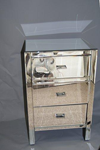 Moderne Spiegel 3 Schubladen Verspiegelt Lampe Telefon Nachttisch
