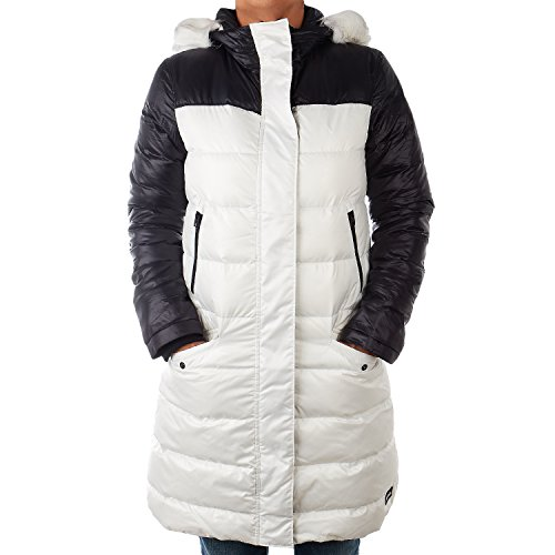 SOREL Tivoli Long Hooded Down Jacket - Nylon Shell (X-Large, Sea Salt/Black)