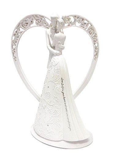 Heart-Language-of-Love-Bride-and-Groom-White-Wedding-Cake-Topper-Figurine