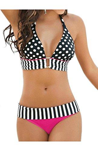 QinYing Lace Up Polka Dots Bikini Set Striped Swimwear L