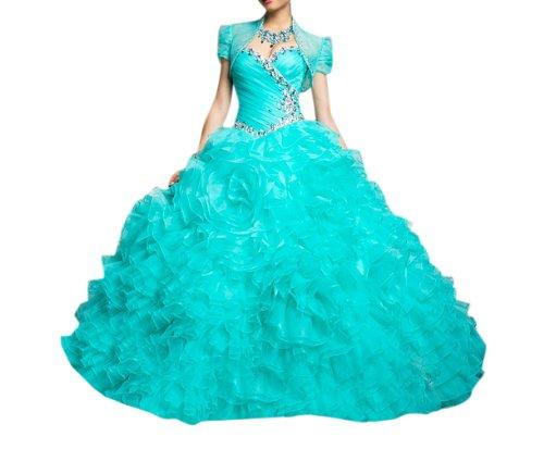 Blue Dresses Dearta Women's Sweetheart Gown Length Quinceanera Floor Ball Organza z44qcTW8x