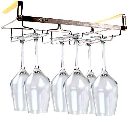 [スポンサー プロダクト]ABINECS ワイングラスホルダー 吊り下げ 穴あけ不要 ネジ止め不要 ステンレス製 棚厚さ調節可 (3列 奥行18cm)