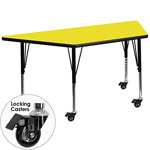 Flash Furniture Mobile 25.5''W x 46.25''L Trapezoid Yellow HP Laminate Activity Table - Height Adjustable Short Legs