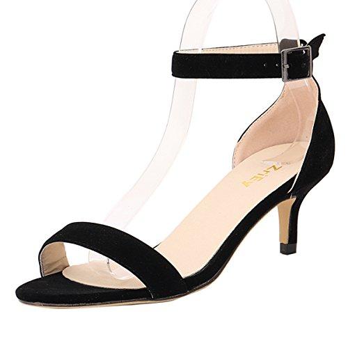 ZriEy Women Sexy Open Toe Ankle Straps Low Heel Sandals Velvet Black Size 11/43 M - Sandals Heel Kitten