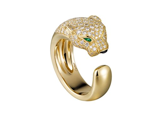 (Cartier Style Emerald Eyes 18K Yellow/White/Rose Gold Pave Natural Diamond Wedding Anniversary Women Love Band Ring,All US Size Available (18k Yellow Gold))