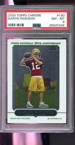 - 2005 Topps Chrome #190 Aaron Rodgers ROOKIE RC NM-MT PSA 8 Graded Football Card