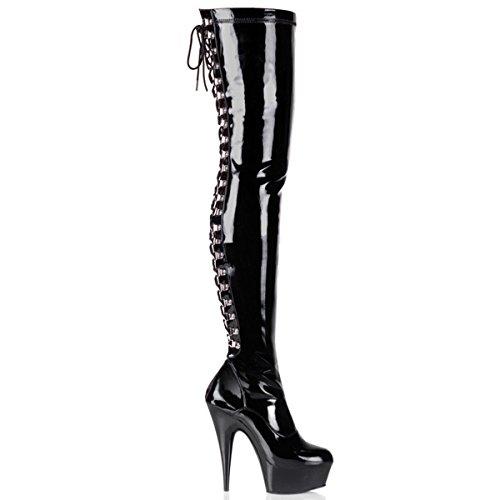 Pleaser Delight-3063 - sexy plateau talon hauts chaussures femmes cuissardes bottes 36-45