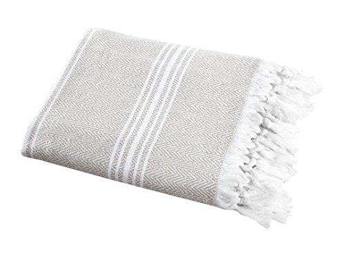 (SALBAKOS Turkish Peshtemal Fouta Towel, 100% Organic Cotton, 40 x 70 Inch, Herringbone Linen)