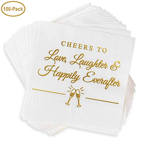 "Napkins for Weddings, Rehearsal Dinners, More – ""Cheers to Love, Laughter & Happily Ever After"" Gold Lettered White Cocktail Napkins, 4.9 sq. in. Fancy Beverage Napkins & Decór by BOLLEPO, 100-Pack ()"