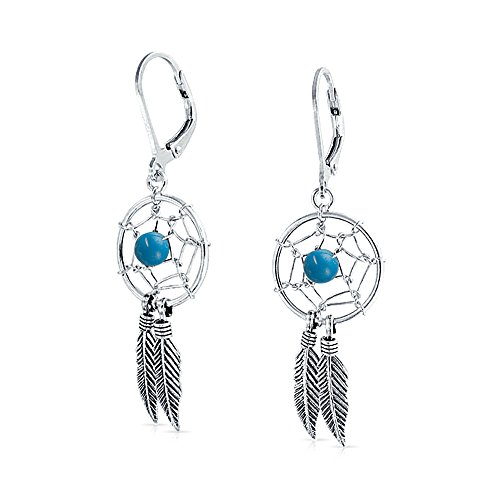 Boho Native American Style Stabilized Turquoise Dream Catcher Feather Dangle Earrings For Women 925 Sterling Silver ()