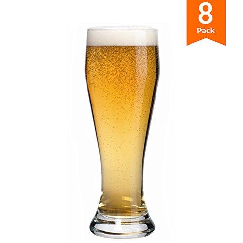 KooK FNG Pilsner Highball Beer Glasses 15 Ounces - 8 (Tall Pilsner Glass Set)