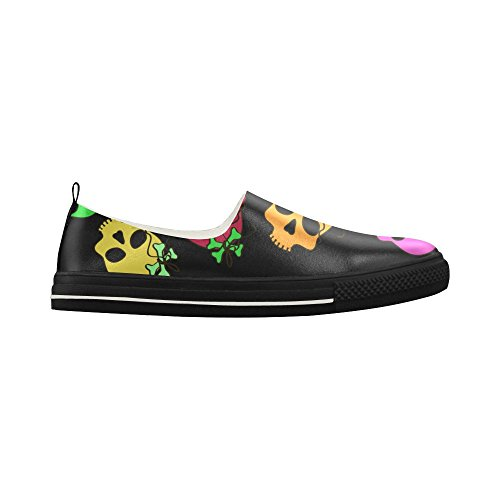 D-Story Custom Colorful Skulls seamless pattern in black backgrou Slip-on Microfiber Mens Shoes Sneaker K028a3Iu2Y