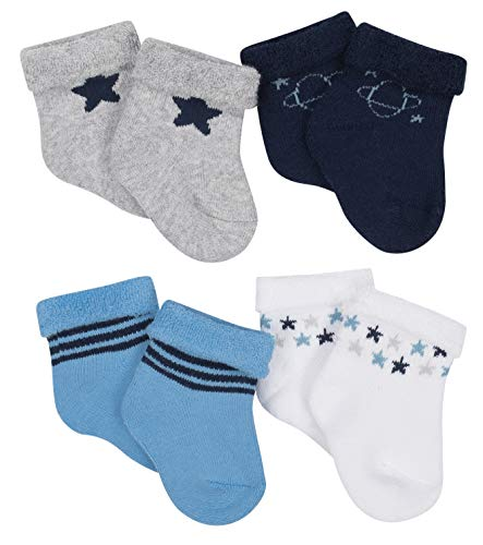 Gerber Baby Boy Wiggle Proof Stay On, Organic Cotton Ankle Bootie Sock, 4-Pack, Blue, Newborn