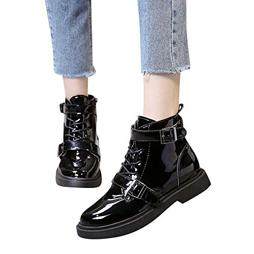 Women's Ankle Boots Cinsanong Cross-Tied Shoes Buckle-Strap Anti-Slip Middle Heel Boots