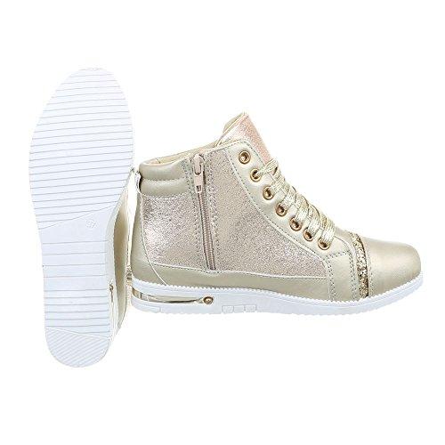 Ital-Design Sneakers High Damenschuhe Sneakers High Sneakers Reißverschluss Freizeitschuhe Gold M-1G