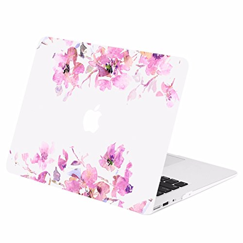 TOP CASE - Floral Reflection Pattern Graphics Rubberized Hard Case Cover Compatible with Apple MacBook Air 11