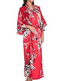 Feoya Women's Kimono Belted Long Robe Peacock & Blossoms Silk Nightwear